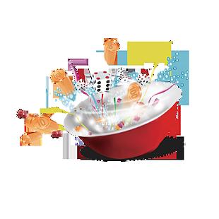 創意碗和骰子元素