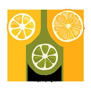 綠色卡通橘子黃色桔子