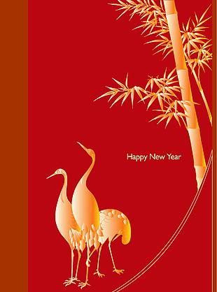 新年封面 竹子 鹤