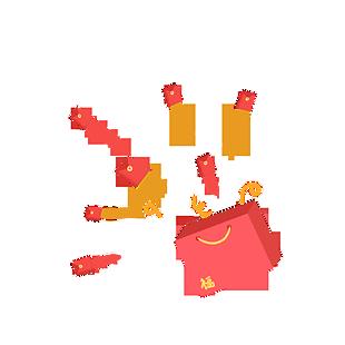 購物袋飛出紅包彩帶