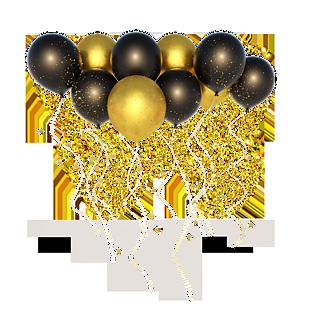 黑金风格漂浮气球C4D立体海报装饰 (1)