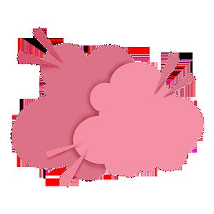剪纸风粉色爆炸烟雾装饰