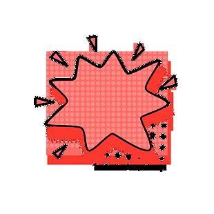 红色矢量波普风格对话框爆炸框元素 (1)