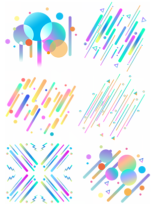 电商漂浮元素波普风孟菲斯点线面多彩图案 (1)