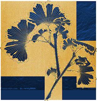中式金色描邊藍色銀杏葉子(1300x1354)