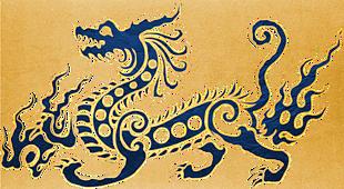中式 金色 描边 蓝色龙