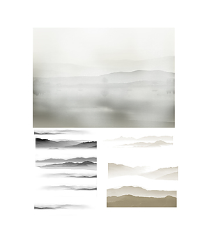 水墨山水畫元素設計