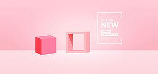 電商首頁粉色立體模板新品上市