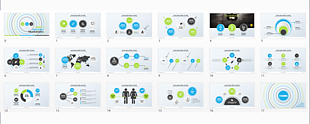 藍綠清新簡潔工作匯報PPT模板