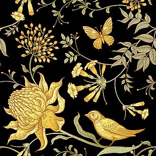 中式 花紋 布紋 背景 圖案