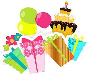 蛋糕禮物氣球矢量圖