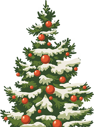 圣诞节圣诞树雪
