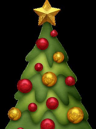 圣诞树上挂彩球