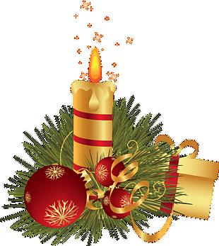 圣诞节金色蜡烛和礼物