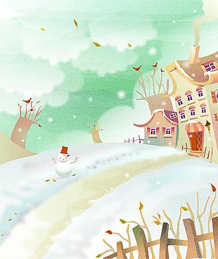 雪景冬季童话故事可愛儿童彩绘矢量23