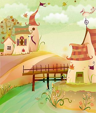 森林童話故事兒童彩繪本矢量26