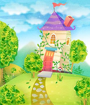 森林童話故事兒童彩繪本矢量27