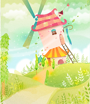 森林童話故事兒童彩繪本矢量29