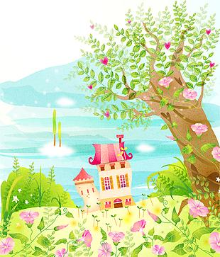 森林童話故事兒童彩繪本矢量1