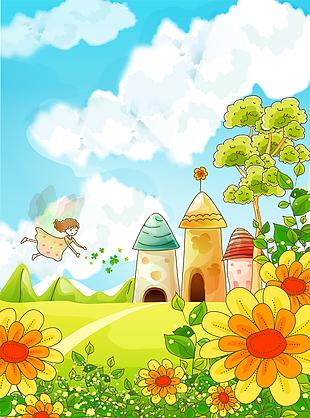 森林童話故事兒童彩繪矢量76