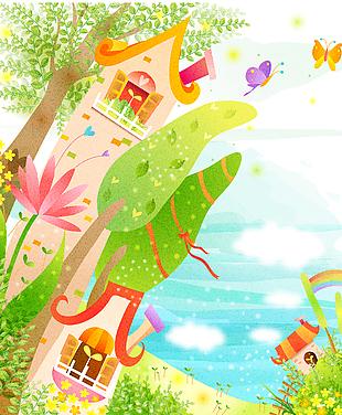 森林童話故事兒童彩繪矢量5