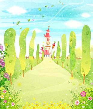 卡通元素森林童話故事兒童彩繪矢量10