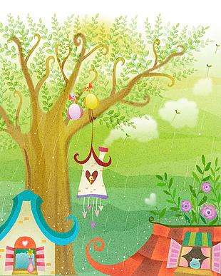 卡通元素可愛童畫背景矢量15