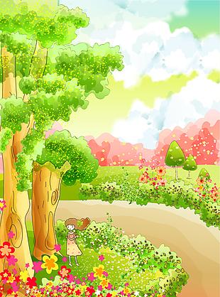 卡通元素可愛童畫背景矢量11