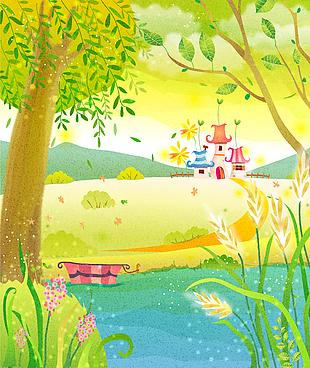 卡通元素可愛童畫背景矢量16
