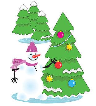 圣诞树雪人矢量图