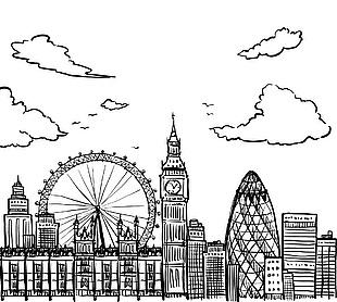 英国建筑手绘矢量图