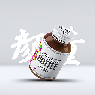 立體瓶子品牌展示樣設計PS素材模版