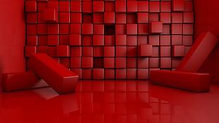 空间感抽象 C4D 渲染红色质感背景