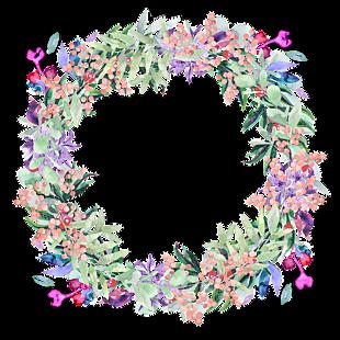 花圈 水彩花的浆果 春 鲜花