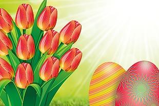 郁金香 复活节 蛋 花束 春天 春季