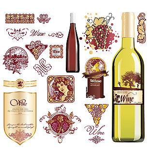葡萄酒標包裝素材