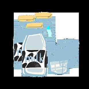 卡通手绘瓶子牛奶杯子