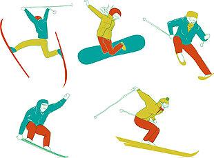 滑雪運動矢量圖