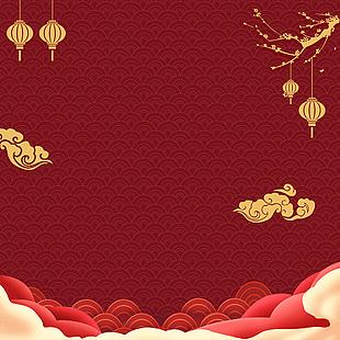 春節新年喜慶節日 祥云中國風紅色背景主圖