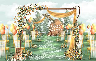 戶外綠色主題婚禮留影區