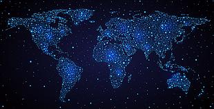 藍色星夜世界地圖