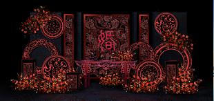 復古紅色主題留影區
