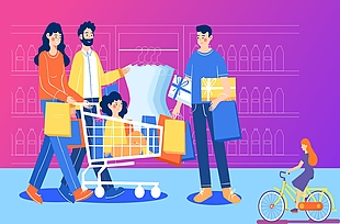 購物插畫矢量圖