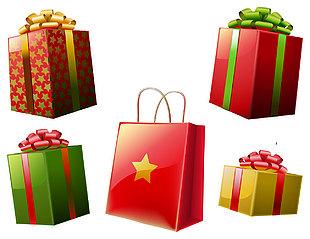 禮品盒禮品袋矢量圖