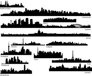 效果 剪影 城市 元素