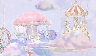 化妆品包装梦幻可爱少女摩天轮木马公园
