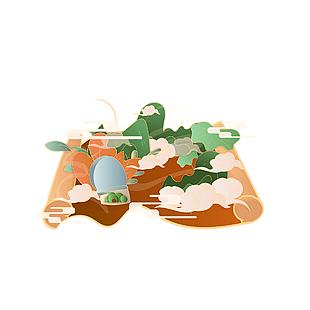 中式简约国潮清明节卷轴山水装饰