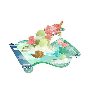 中式简约国潮清明节卷轴山水装饰元素
