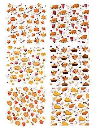 手繪卡通感恩節南瓜火雞食物底紋