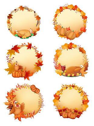 手繪感恩節南瓜火雞裝飾邊框